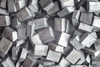 Pile of tungsten metal blocks
