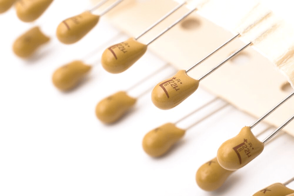 a line of tantalum capacitors