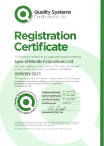 quality certificate awarded to Special Metals 2020